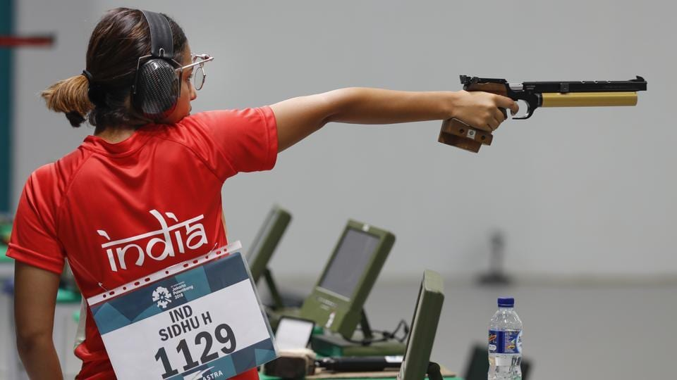 India's Heena Sidhu shoots during the 10m air pistol women's final. (AP)