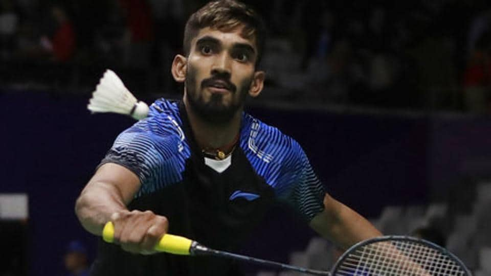 India's Srikanth Kidambi returns a shot to Hong Kong's Wong Wing Ki Vincent during their men's single badminton match. (AP)