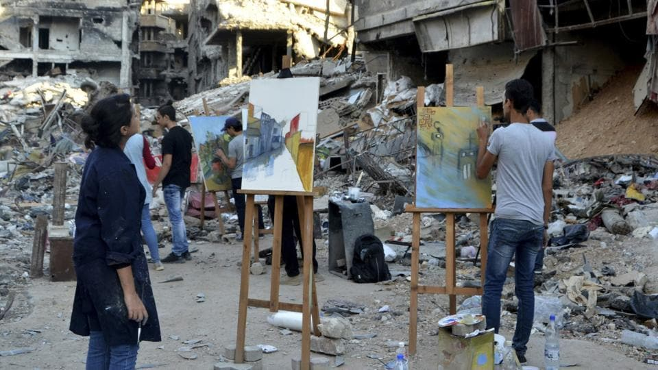 "After the images were shared online, several internet users slammed the project as provocative. But Mohammed Jalbout, one of the organisers who hails from the Palestinian camp, defended the project.""We all have homes here. I haven't been back to mine or been able to inspect it,"" he said. But, ""at least through art, we're trying to breathe a little life back into this place."" (Maher Al Mounes / AFP)"