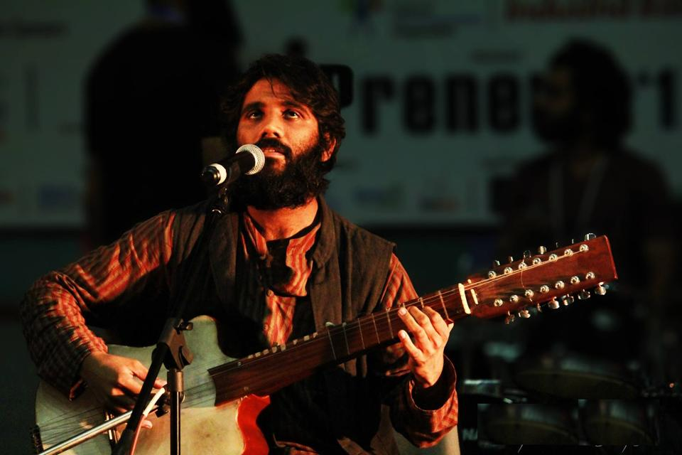 Kavish Seth has created a hybrid, 14-stringed instrument shaped like a guitar, but with a wood frame covered in goat skin to produce percussive sounds like those of a djembe. He's named it Noori, after his girlfriend at the time.