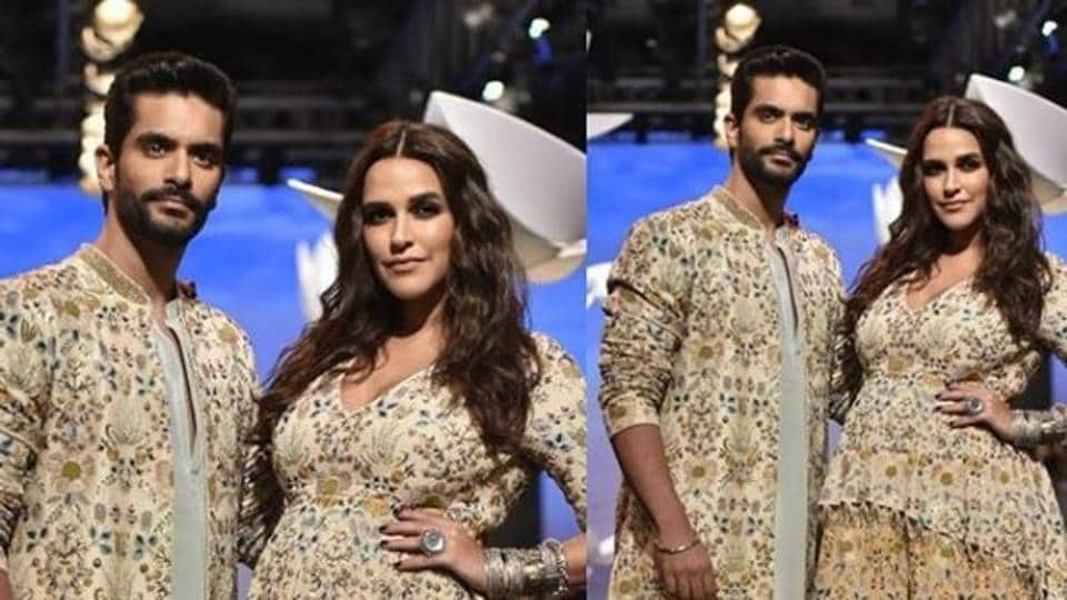 Image result for latest images of neha dhupia with angad bedi at lakme fashion week 2018 day 4