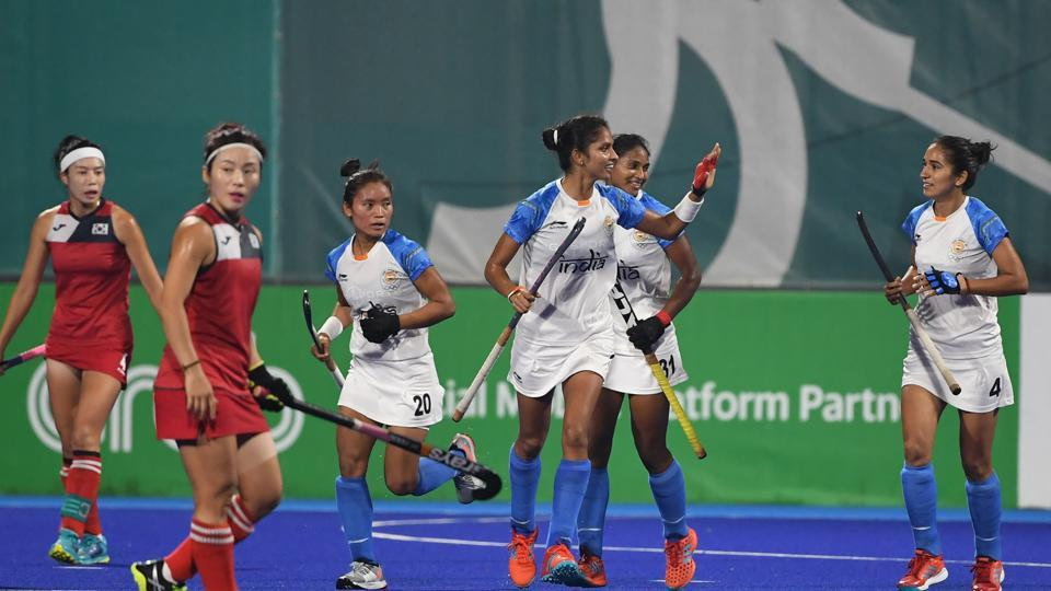 India players celebrate after scoring a goal during the women's hockey pool B match between India and South Korea at the 2018 Asian Games in Jakarta.