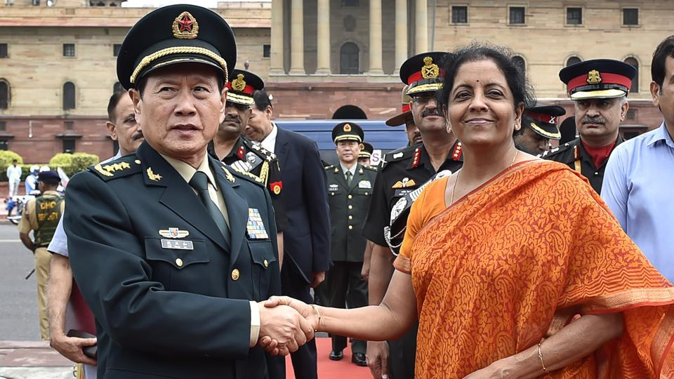 Defence Minister Nirmala Sitharaman welcomes the Defence Minister of China Wei Fenghe at South Block on August 23, 2018 in New Delhi. (Ajay Aggarwal / HT Photo)