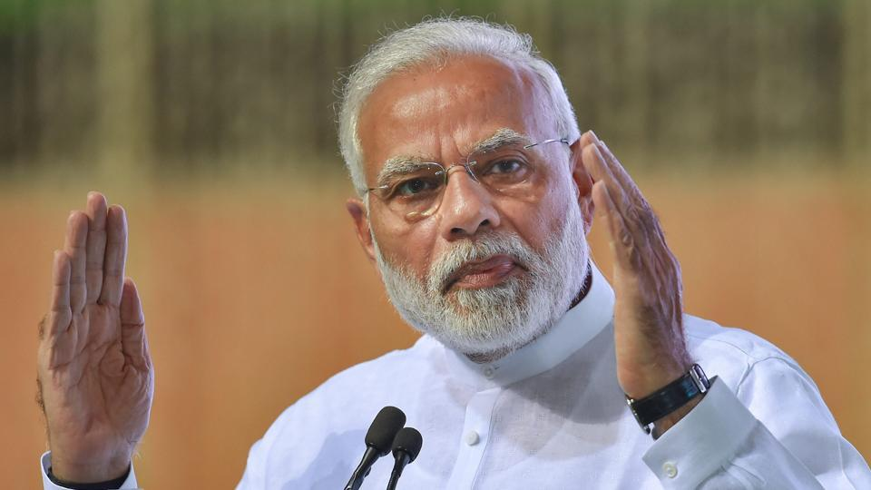 Prime Minister Narendra Modi addresses an all party condolence meeting organised for former prime minister Atal Bihari Vajpayee, in New Delhi.