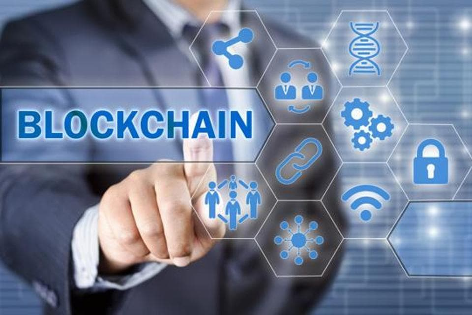 Businessman choosing blockchain technology illustrated with icons