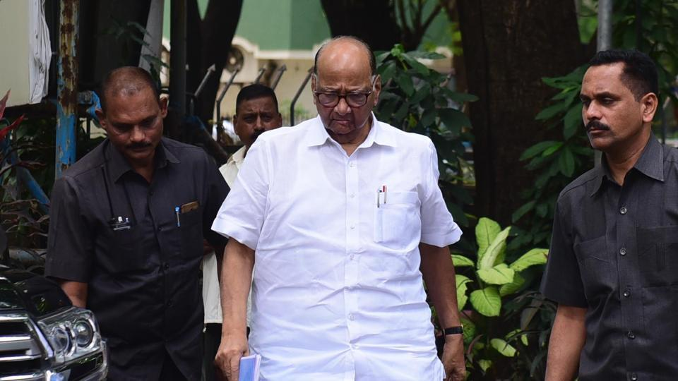 Nationalist Congress Party president Sharad Pawar arrives for executive party members meeting at Y B Chavan Hall, in Mumbai on August 27.