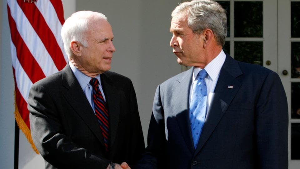 "US President George W. Bush (R) and presumptive presidential nominee John McCain after a meeting at the White House on March 5, 2008. Flags flew at half-staff at the White House on Sunday. Trump tweeted his ""deepest sympathies and respect"" to McCain's family. All five living former presidents - Barack Obama, George W. Bush, Bill Clinton, George H.W. Bush and Jimmy Carter - paid tribute to McCain's courage and character. (Kevin Lamarque / REUTERS File)"