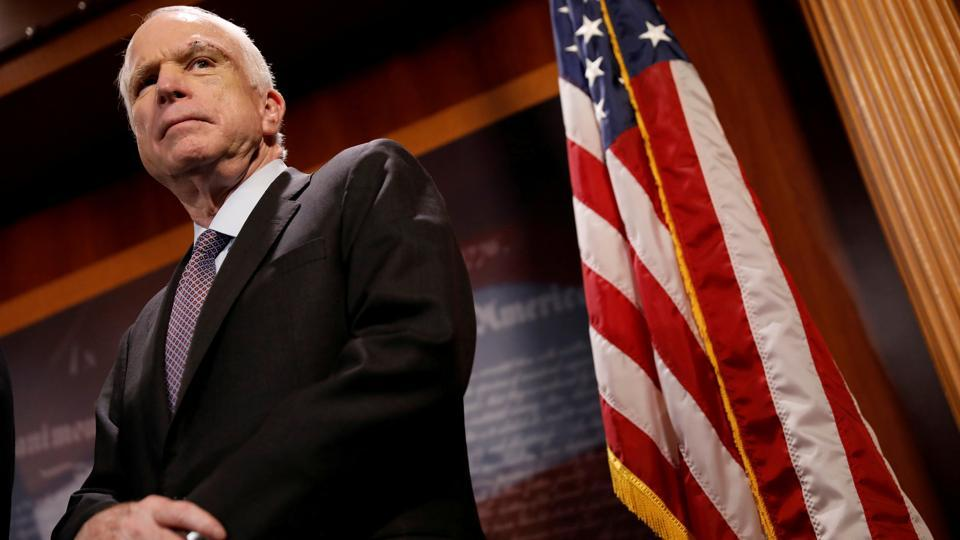 "US Senator John McCain (R-AZ) looks on during a press conference about his resistance to the so-called ""Skinny Repeal"" of the Affordable Care Act on Capitol Hill in Washington, US, on July 27, 2017. McCain, a former prisoner of war in Vietnam who ran for president in 2008 as a maverick Republican and became a prominent critic of President Donald Trump, died on Saturday. He was 81. (Aaron P. Bernstein / REUTERS File)"