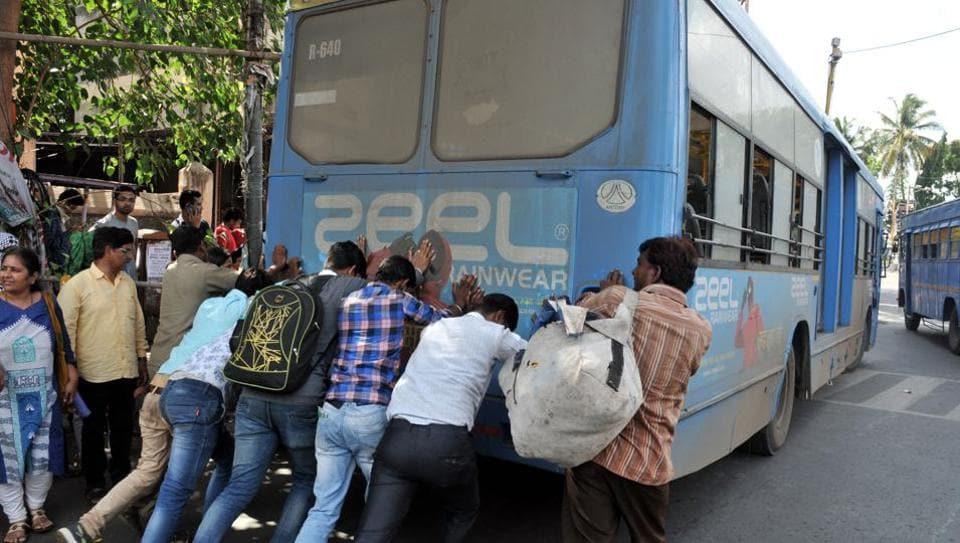 Pune,PMPML,stranded bus