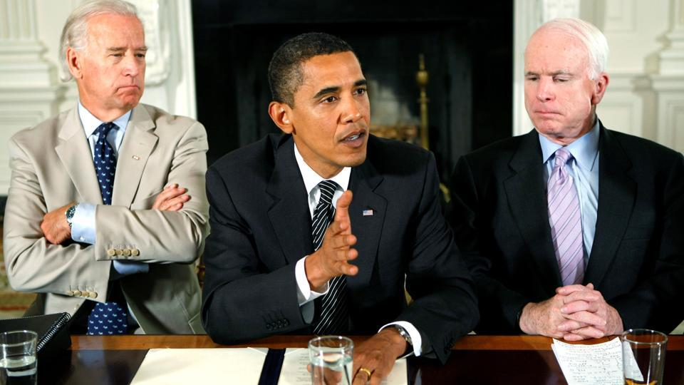 "US President Barack Obama speaks during a meeting with members from both parties of Congress at the White House on June 25, 2009. Obama said in a statement that he and McCain, shared a belief in American ideals. ""We saw our political battles, even, as a privilege, something noble, an opportunity to serve as stewards of those high ideals at home, and to advance them around the world."" (Kevin Lamarque / REUTERS File)"