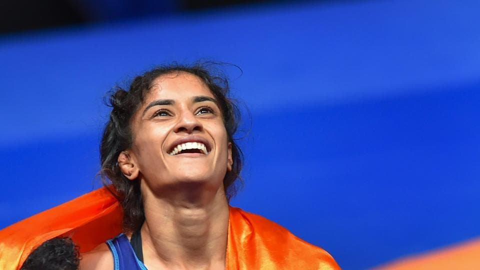 Vinesh Phogat became the first Indian woman to win wrestling gold at the ongoing Asian Games 2018 and later got engaged to long-time boyfriend Somvir Rathi on Saturday upon her return from Jakarta. Interestingly, the engagement ceremony took place completely at the Indira Gandhi International Airport in New Delhi. (Shahbaz Khan / PTI File)