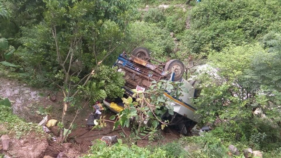 A bus carrying 36 passengers fell into a gorge in Tehri, two died on the spot.