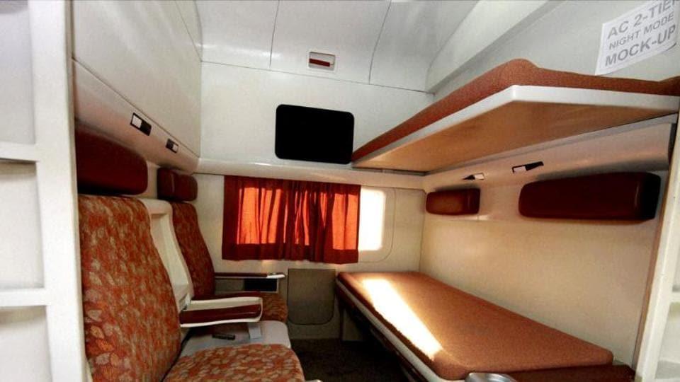 An inside view of modern coach Anubhuti at a railway coach care centre in New Delhi.