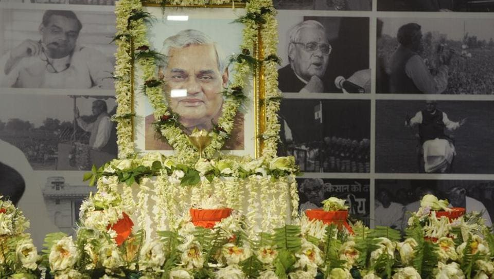 Urns containing ashes of former prime minister Atal Bihari Vajpayee at the BJP head office in Kolkata on August 23.
