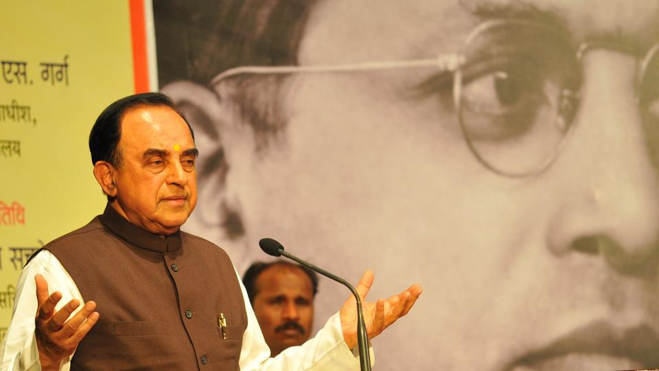 BJP leader Subramaniam Swamy during a function in Indore.