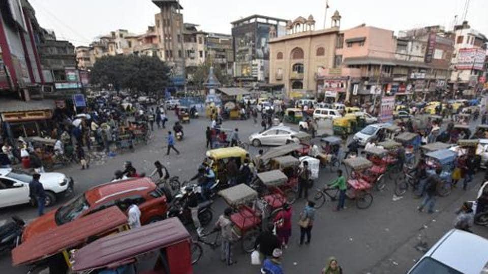 chandni chowk,motor vehicles in chandni chowk,delhi