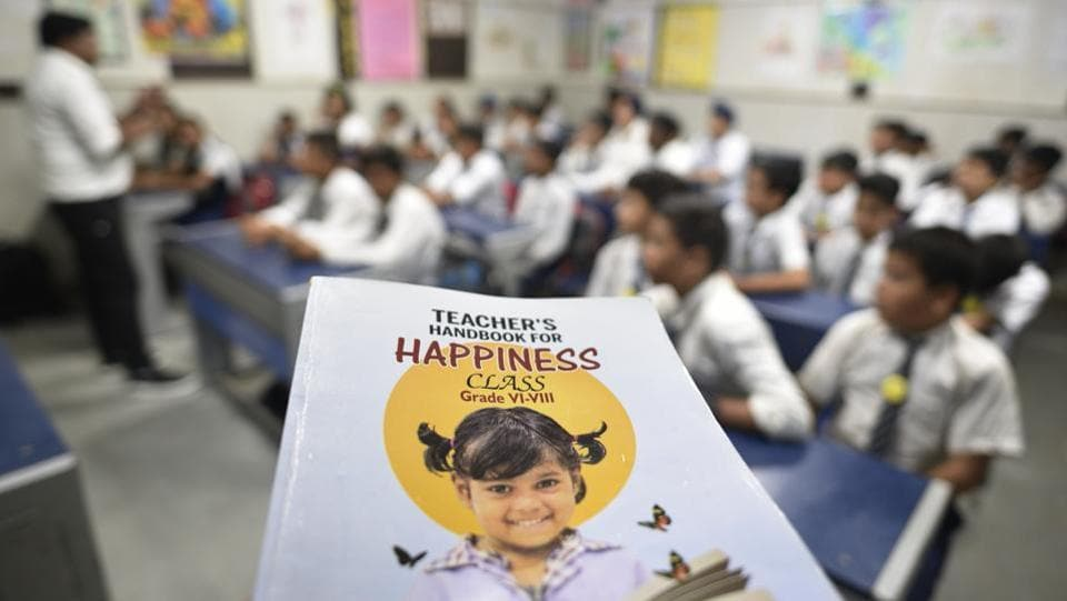 This handbook for happiness for Classes 6 to 8 is divided into four sections: Mindfulness, which includes mindful listening, sensory awareness, among others; Storytelling, which includes 20 stories, each story with its objective clearly spelt out on top of the page; Activities aimed at teaching the meaning of happiness, competence; and Expression. (Sanchit Khanna / HT Photo)