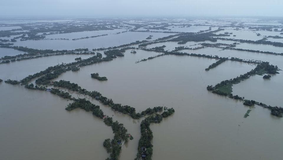 An aerial view of flooded Kuttanad in Alappuzha district on August 19.