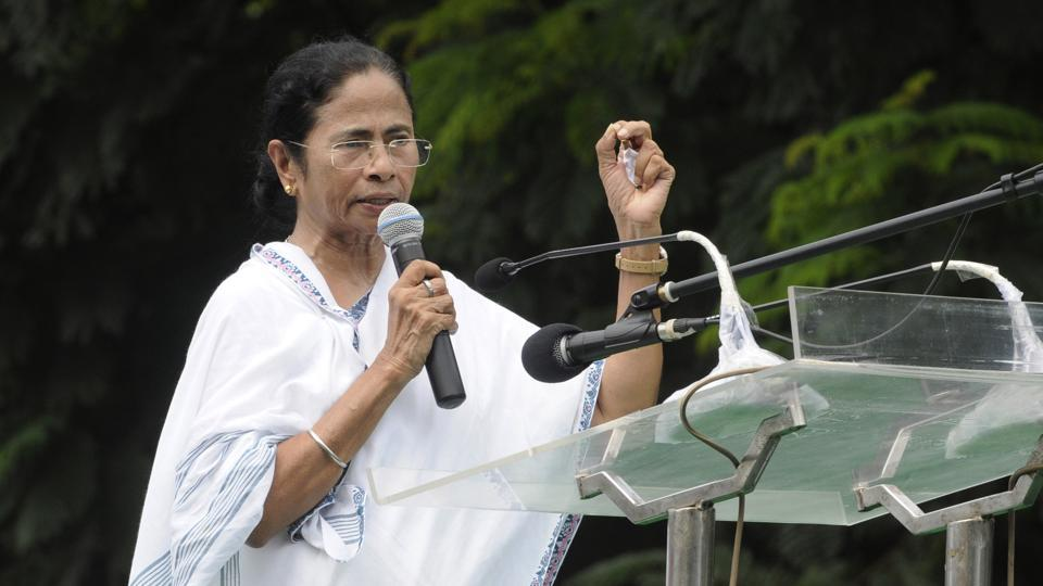 West Bengal Chief Minister Mamata Banerjee during the foundation day programme of party's student wing Trinamool Chhatra Parishad at Mayo road crossing in Kolkata, on Tuesday.