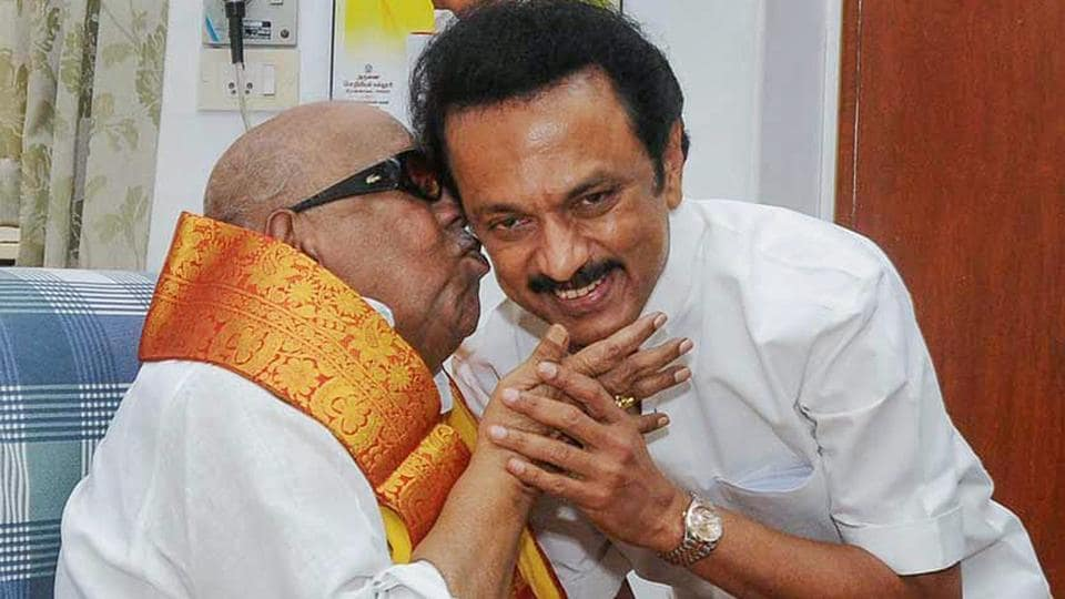 MK Stalin was elected as the DMK president, a post his father M Karunanidhi held for 49 years till his death on August 7, during a meeting of the party's general council. The 65-year-old paid tribute to CN Annadurai and Karunanidhi after being elected as the president of the Dravida Munnetra Kazhagam. (R Senthil Kumar / PTI File)