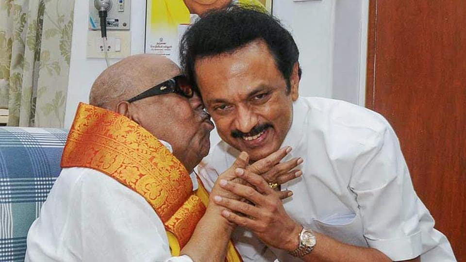DMK president MK Stalin with his father late Karunanidhi in Chennai on Jan. 10, 2014.