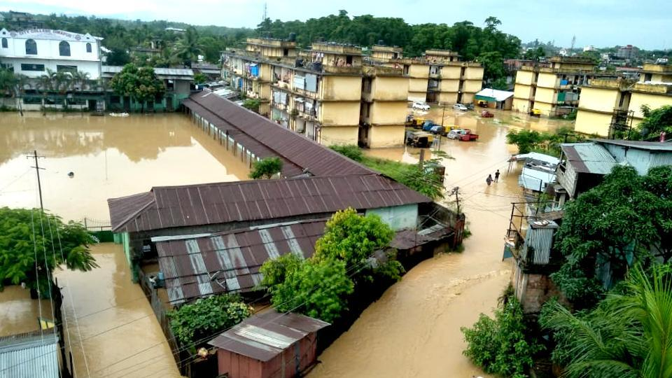 The Netaji Colony in Dimapur, Nagaland's commercial capital. The state has suffered heavy damages in month-long rains.