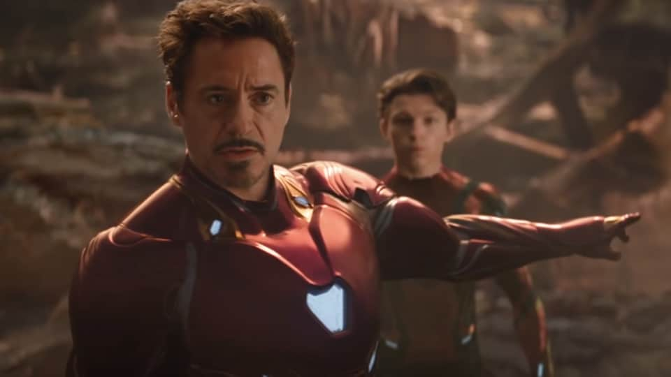 Robert Downey Jr and Tom Holland as Iron Man and Spider-Man in a still from Avengers: Infinity War.