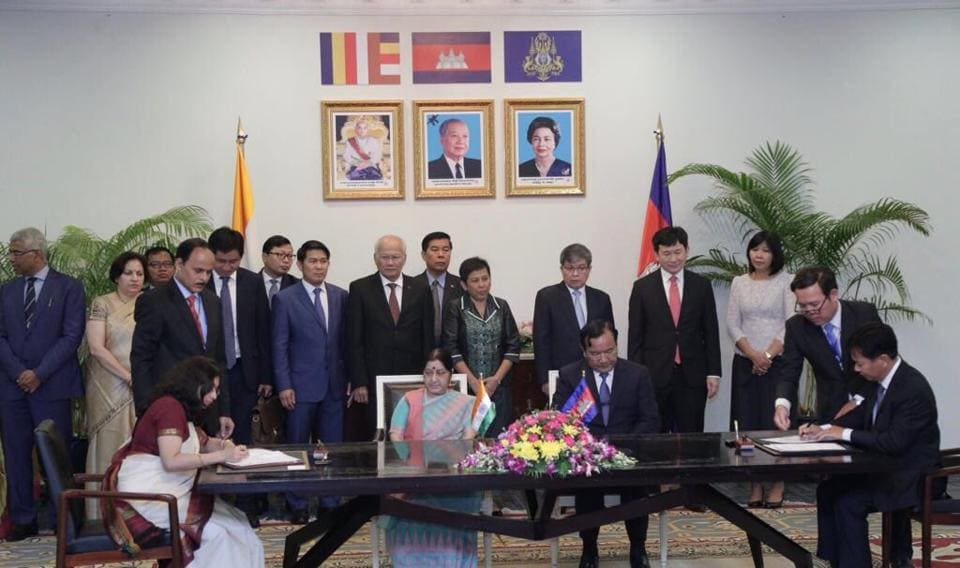 Sushma Swaraj and Prak Sokhon Cambodian Foreign Minister witness signing of 2 MOUs between India  and Cambodia.