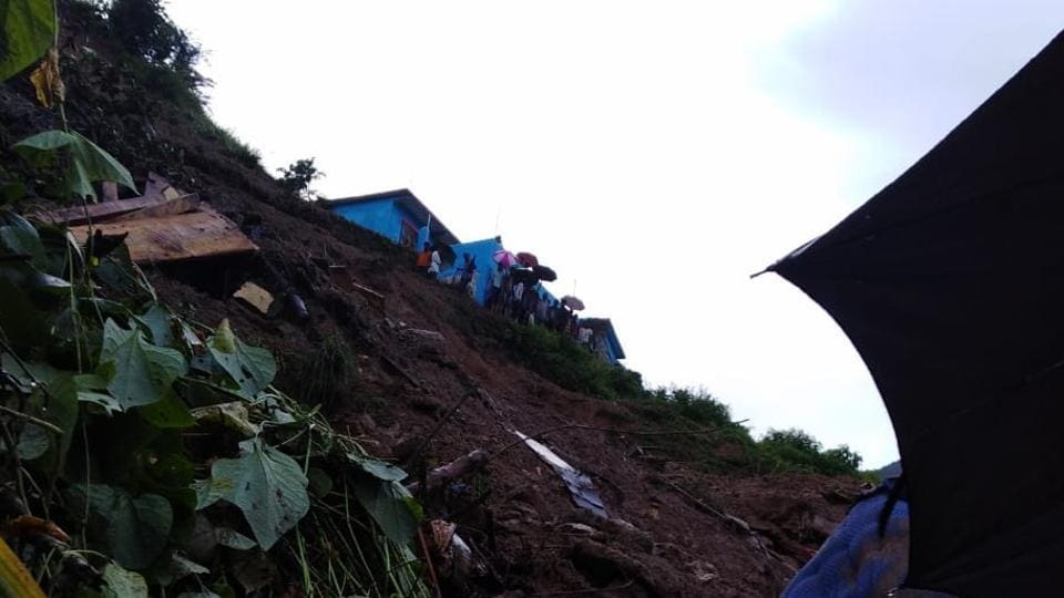 Two members of a family of seven  were killed while one was rescued after their house was buried in landslide in Ghansali town of Uttarkhand and rescue operations to save them were on.