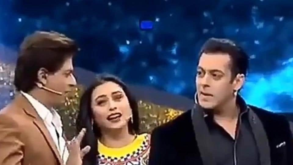 Salman Khan, Shah RukhKhan and RaniMukerji during Dus Ka Dum 3 finale shoot.