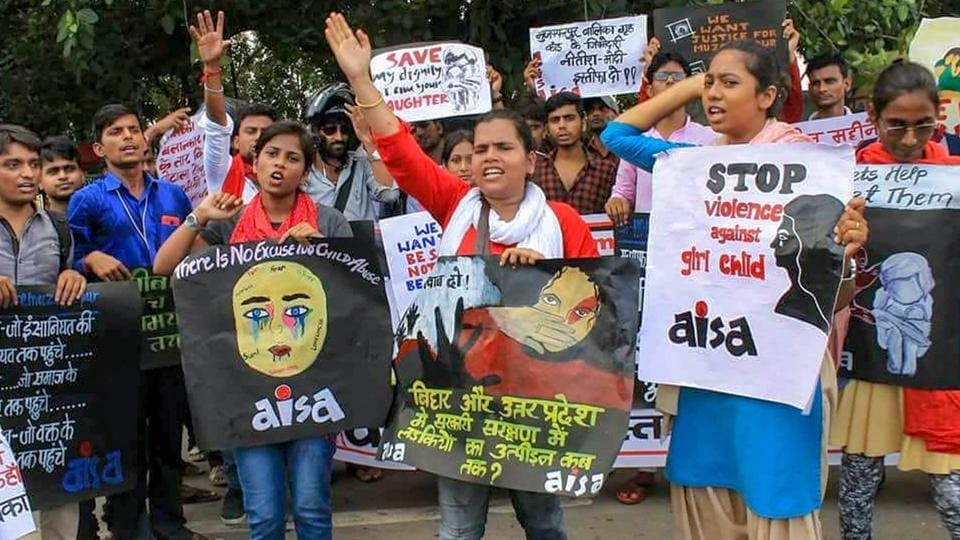 All India Students Association (AISA) activists take part in a protest march against shelter home rape cases of Bihar and Uttar Pardesh, in Patna on Friday, August 10, 2018.  According to Bihar police data, there has been a rise in cases of crime against women in the state between January and June this year.