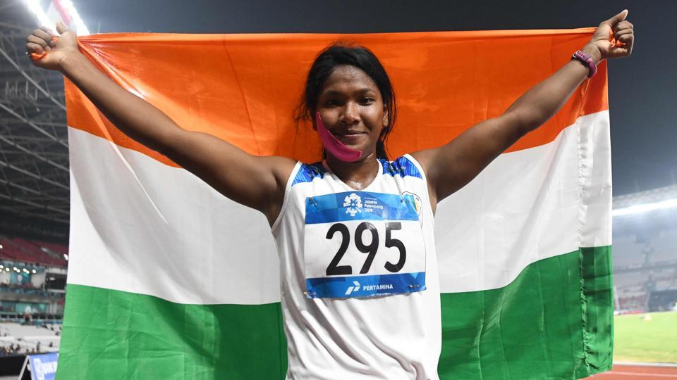 India's Swapna Barman celebrates after competing in the women's 800m heptathlon athletics event during the 2018 Asian Games.