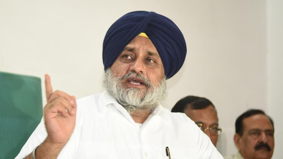 Chandigarh, India August 28:Former Deputy Chief Minster Punjab and SAD President Sukhbir Singh Badal during the press conference at Punjab Vidhan Sabha in Chandigarh on Tuesday, August 28, 2018.Photo by Sharma/Hindustan Times