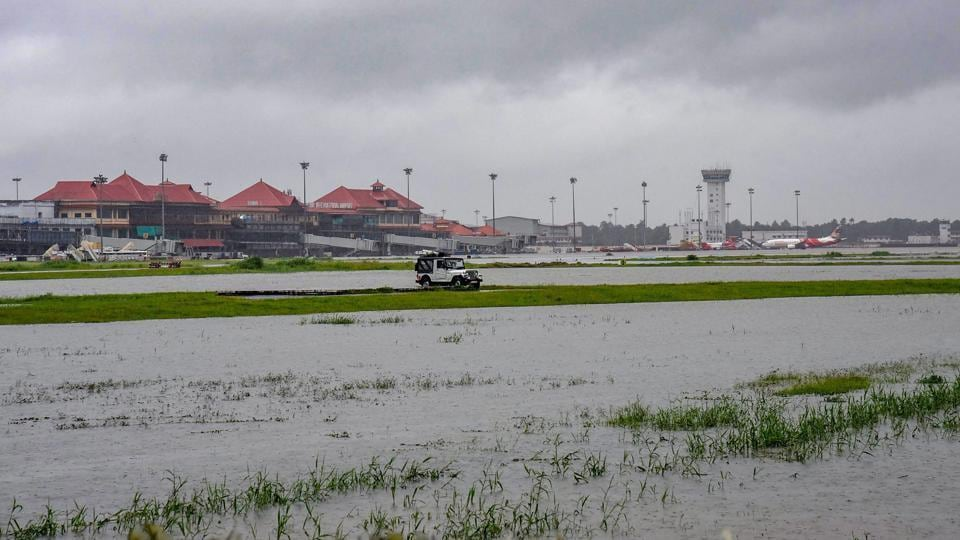 Submerged area near Cochin International Airport after monsoon rainfall, in Kochi on Aug 15, 2018.