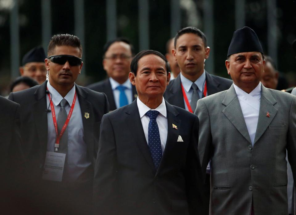 Myanmar's president Win Myint (C) arrives at Tribhuvan International Airport to attend the Bay of Bengal Initiative for Multi-Sectoral Technical and Economic Cooperation (BIMSTEC) summit in Kathmandu.