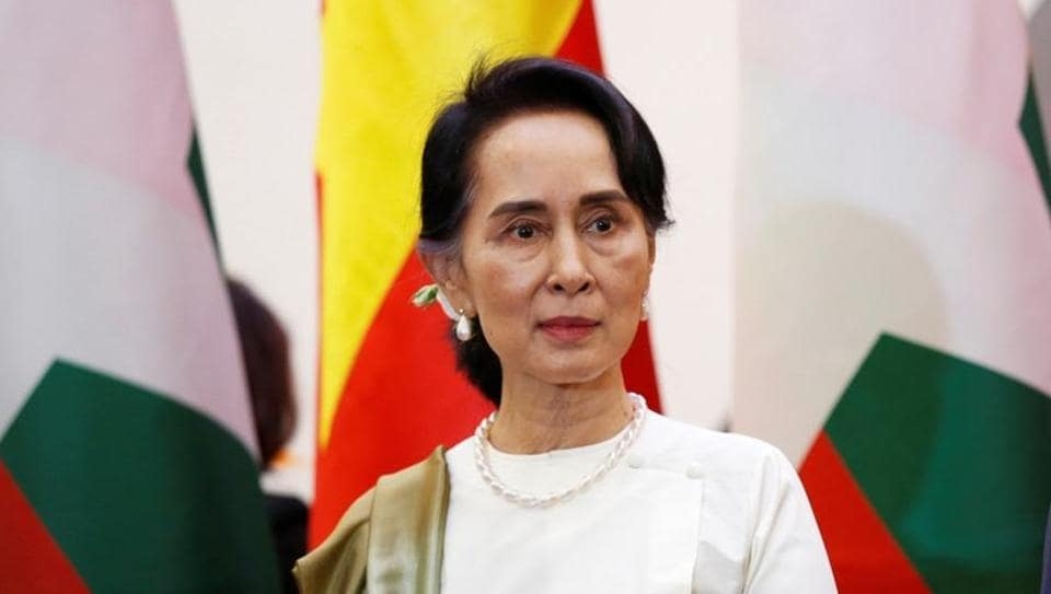Myanmar's State Counsellor Aung San Suu Kyi attends a signing ceremony in Hanoi, Vietnam on April 19, 2018.