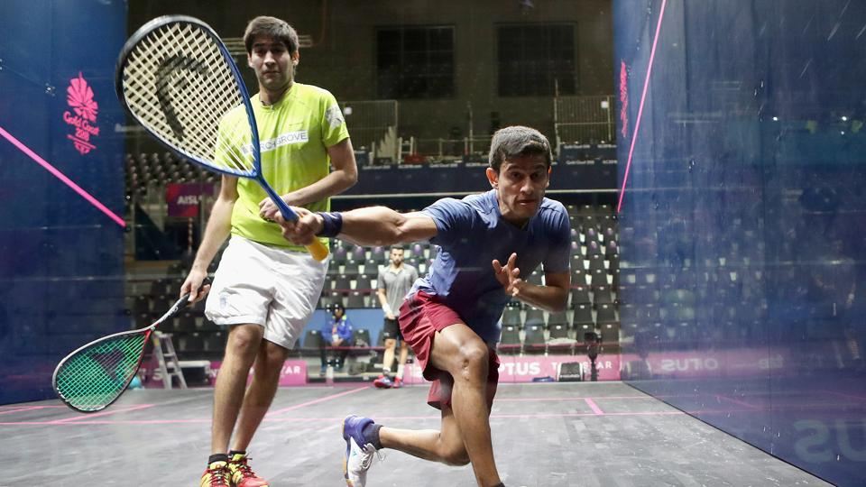 File photo of Indian squash players Ramit Tandon and Saurav Ghosal of India at training, at the Squash show court at Oxenford Studios, ahead of the 2018 Commonwealth Games.