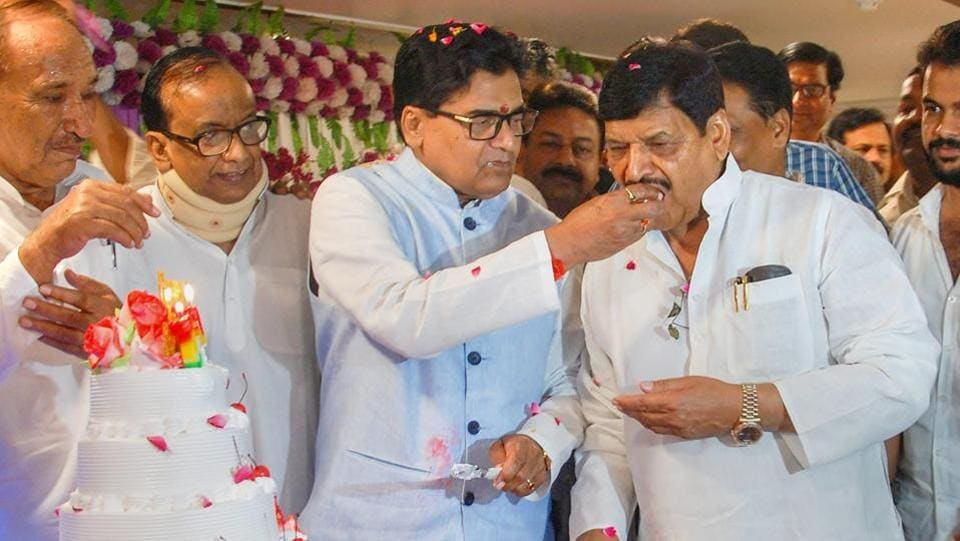 "Shivpal Yadav (R), the senior leader of the Samajwadi Party, on Wednesday announced the formation of Samajwadi Secular Morcha and invited all ""neglected"" leaders from the SP and other secular parties to join him, in a development that could revive the power tussle in the Yadav family. (PTI File)"