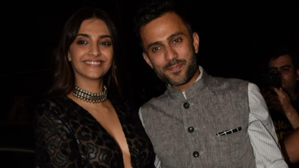 Sonam Kapoor along with her husband Anand Ahuja during the launch of Jacqueline Fernandez's new restaurant in Mumbai.