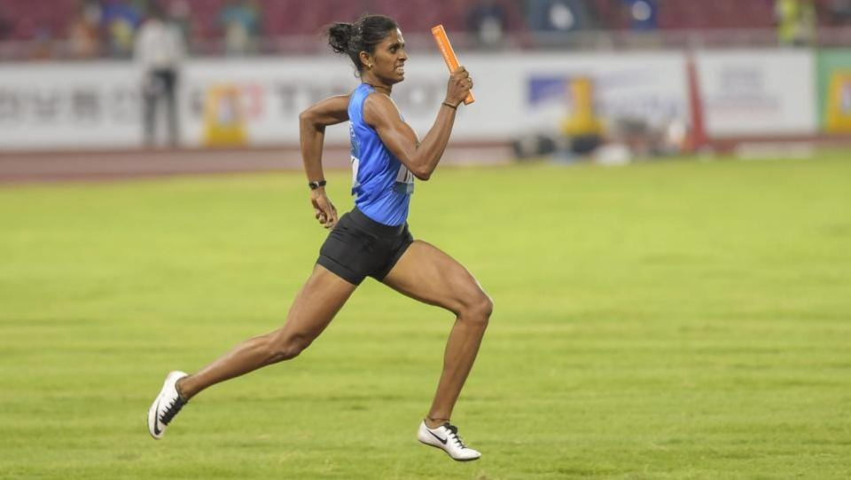 India's Poovamma Raju competes in women's 4x400m relay competition. (PTI)