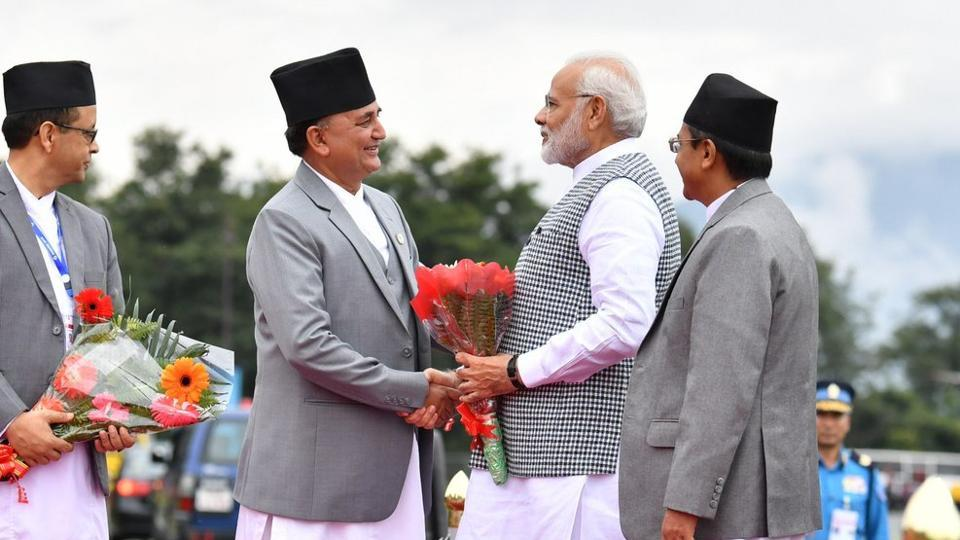 Nepal Deputy Prime Minister and Defence Minister Ishwor Pokhrel received PM Narendra Modi at the Tribhuvan International Airport in Kathmandu.