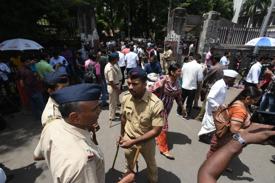 The Shivajinagar court in Pune was under heavy police bandobast for most of Wednesday, as three of the arrested activists were brought in for their hearing.