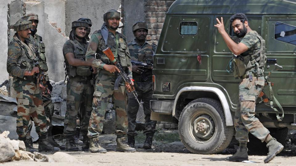 Two militants were killed in an encounter with security forces in Jammu and Kashmir's Bandipora district on Thursday. While one of the terrorists was killed earlier today, the body of another militant has been recovered from the encounter site. (Waseem Andrabi / HT Photo)
