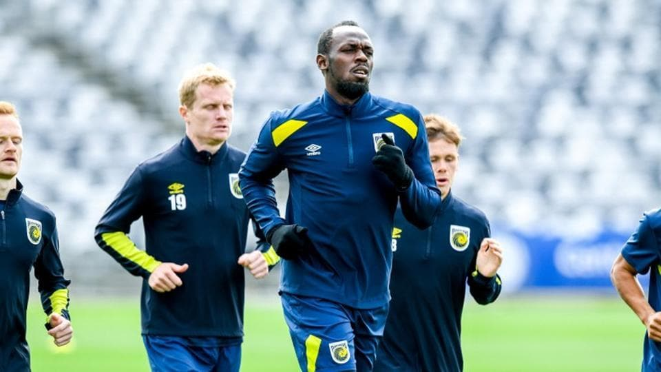 Eight-time Olympic sprinting gold medallist Usain Bolt is seen during a training session with the Central Coast Mariners at Central Coast Stadium in Gosford, Australia, August 28, 2018.