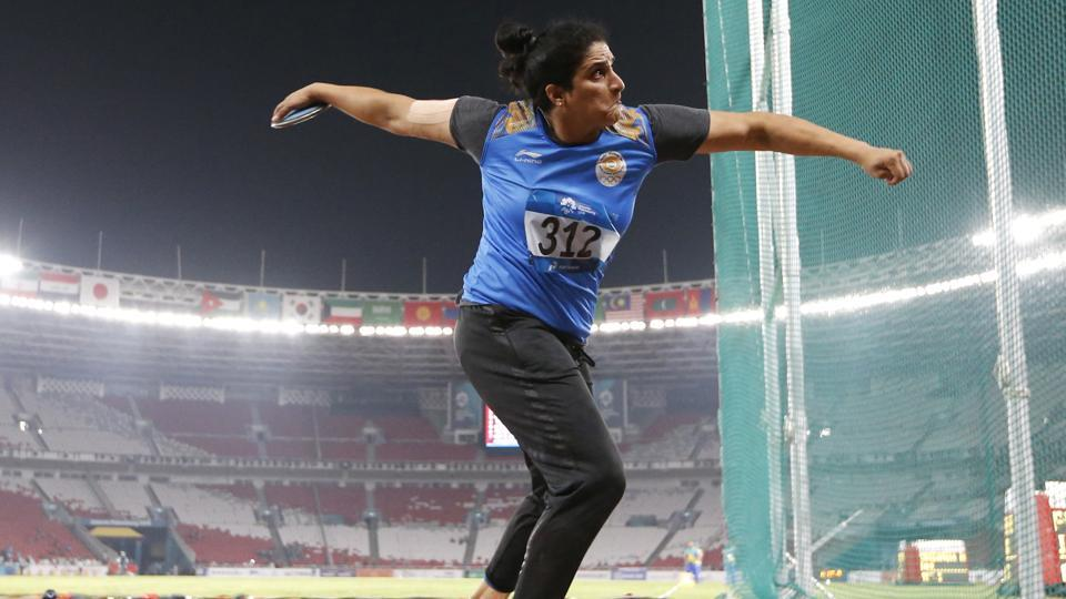 India's Seema Punia competes in the woman's discus final during the athletics competition. (AP)