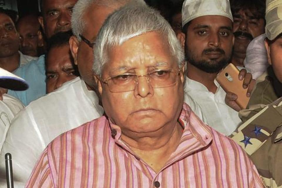 EDS PLS TAKE NOTE OF THIS PTI PICK OF THE DAY::::::::: Ranchi: RJD leader Lalu Prasad arrives at the airport to surrender at the CBI court in connection with multi-crore fodder scam case, in Ranchi on Wednesday, August 29, 2018. (PTI Photo) (PTI8_29_2018_000227B)(PTI8_29_2018_000310B)