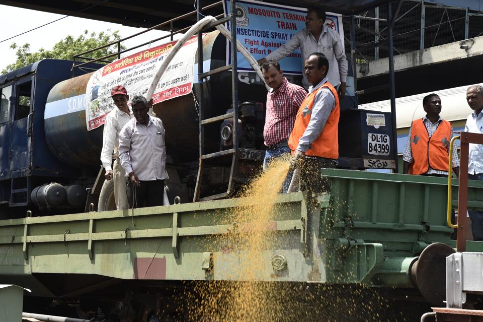 Delhi Division Northern Railway and South Delhi Municipal Corporation jointly launch the Mosquito Terminator Special Train to check mosquito breeding alongside railway tracks in New Delhi on Friday.