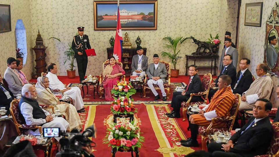 Prime Minister Narendra Modi with BIMSTEC leaders calls on Nepali President Bidya Devi Bhandari, in Kathmandu, Nepal. Modi arrived in Kathmandu on Thursday to participate in the two-day 4th BIMSTEC Summit that will focus on enhancing regional connectivity and boosting trade. (PIB / PTI)