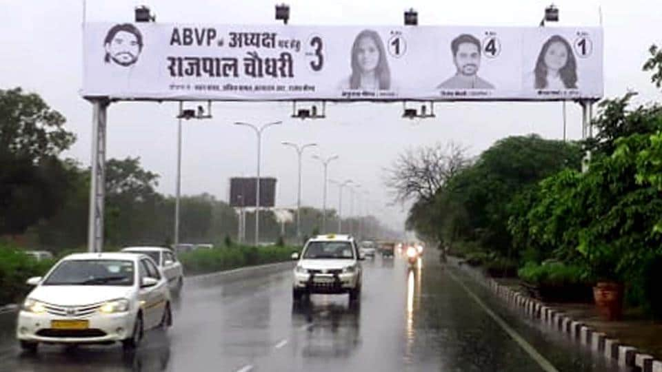 Hoardings of candidates contesting Rajasthan University Students Union election this year.