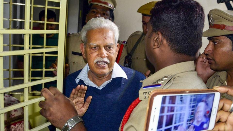 Poet-Social activist Varavara Rao as he returns home to be placed under house arrest, in Hyderabad on Thursday, Aug 30, 2018.